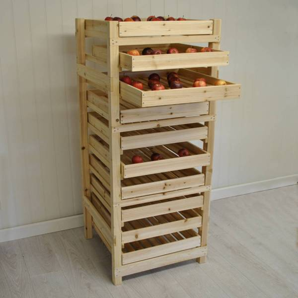 wooden apple storage rack with 10 drawers by garden selections   notonthehighstreet.com