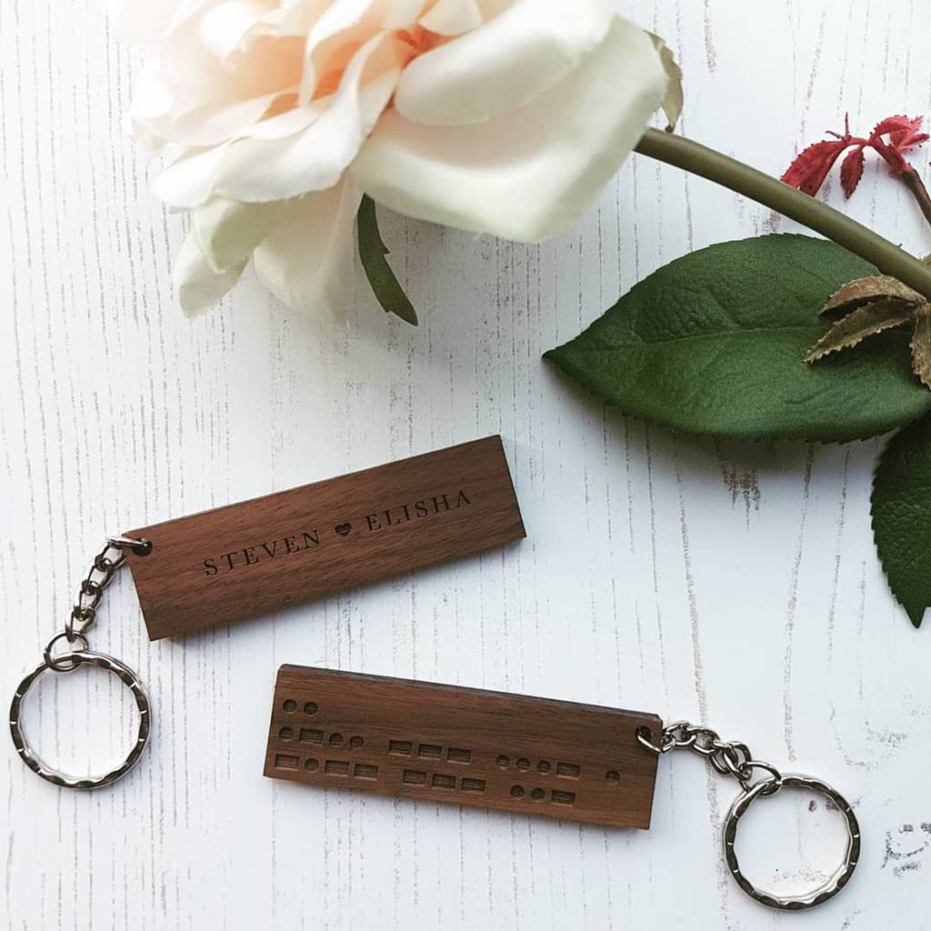 Secret Message Morse Code Personalised Wood Keyring By