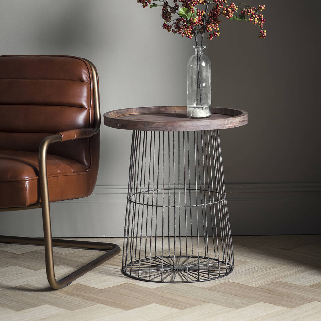 metal leg chair wedding cover hire cost wood and wire circular side table by the forest & co | notonthehighstreet.com