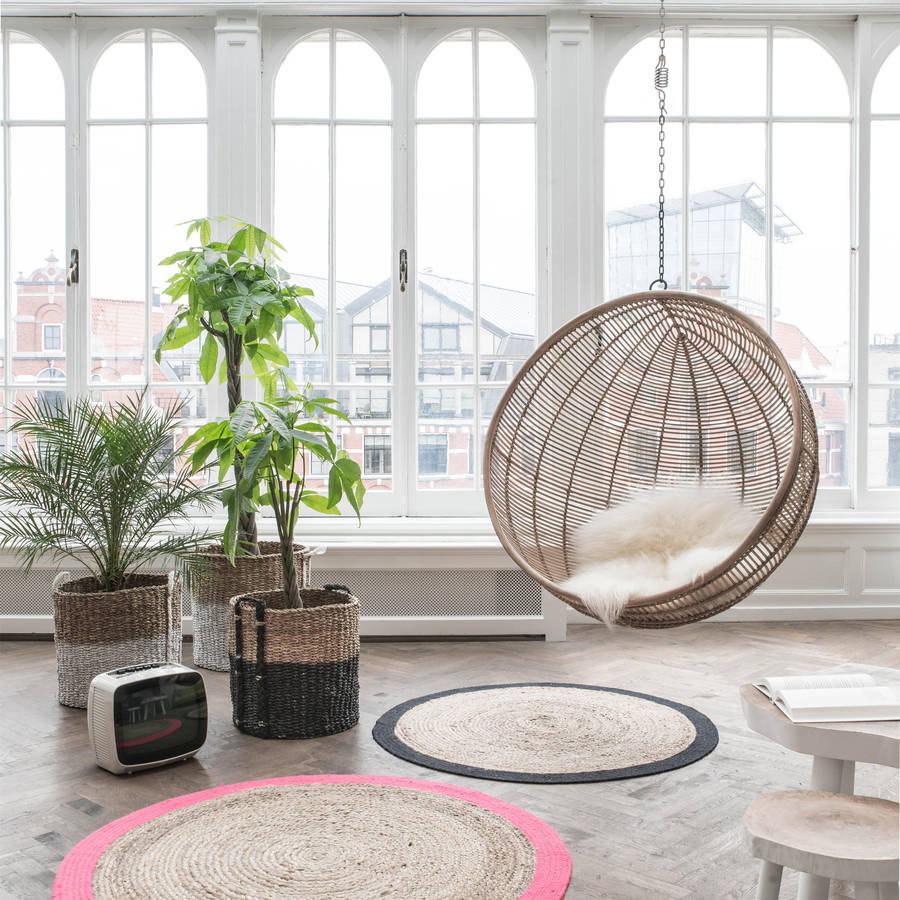 hanging rattan ball chair in natural by out there