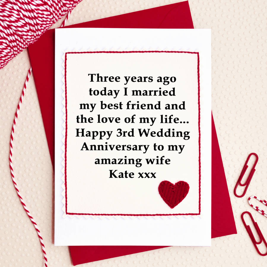 personalised 3rd wedding anniversary card by jenny arnott cards  gifts  notonthehighstreetcom