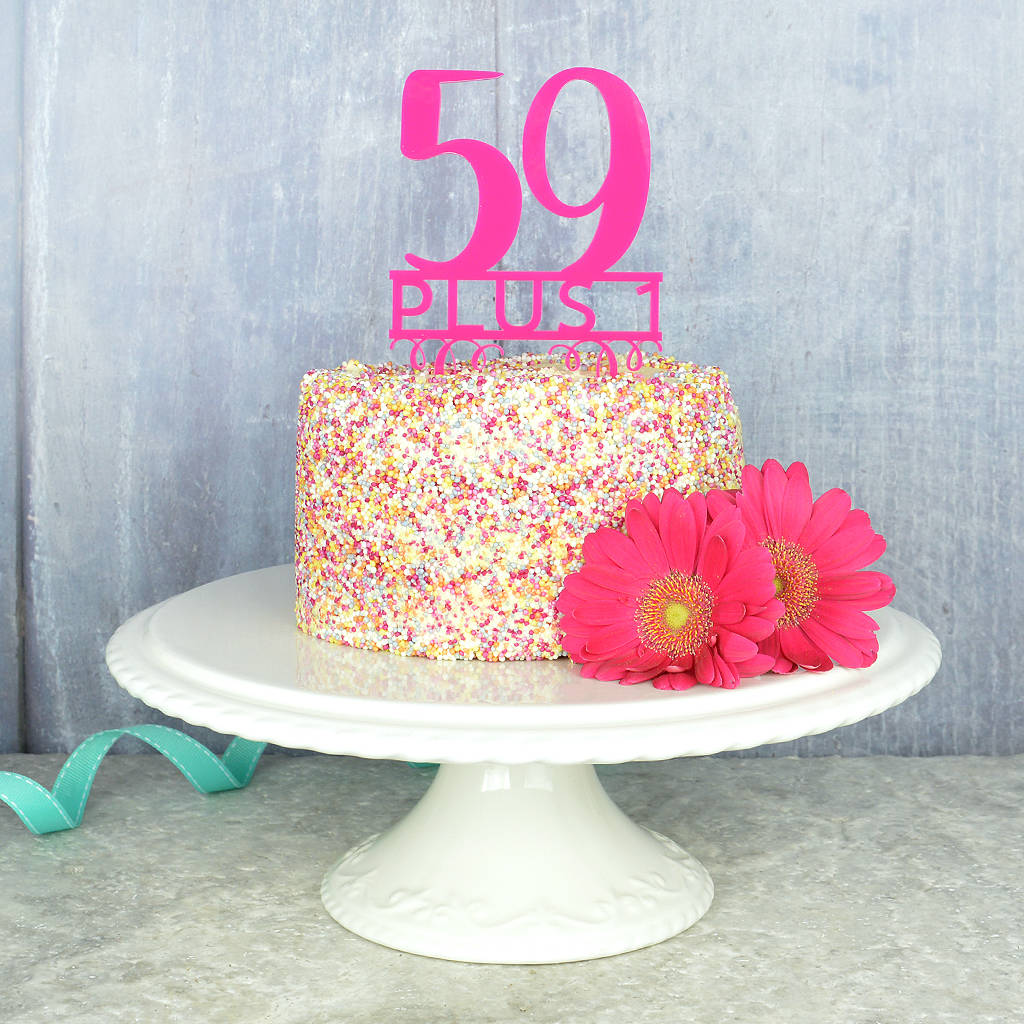60th Birthday Cake Topper By Pink And Turquoise