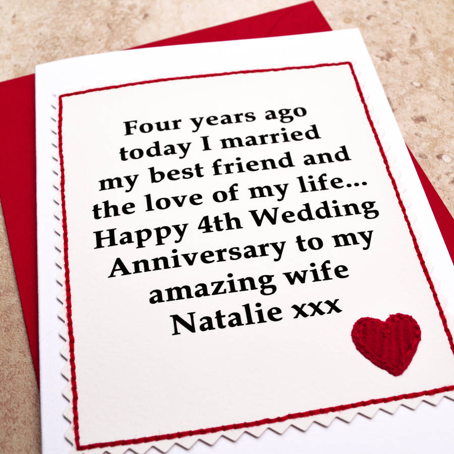 personalised 4th wedding anniversary card by jenny arnott cards  gifts  notonthehighstreetcom