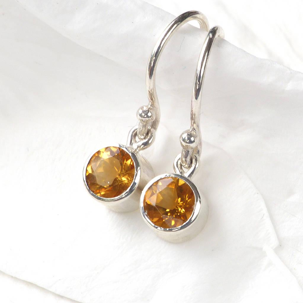 november birthstone earrings, citrine by lilia nash