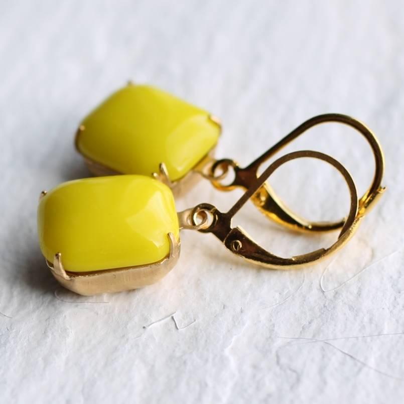 neon yellow earrings by silk purse, sow's ear