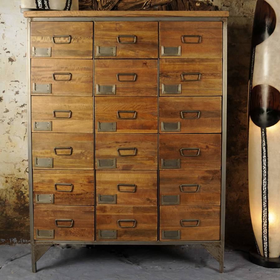 industrial vintage apothecary chest by the orchard