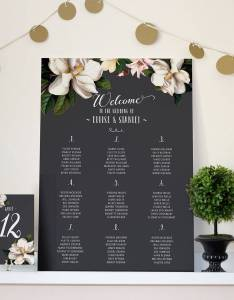 Black magnolia wedding seating chart also by vanilla retro stationery rh notonthehighstreet