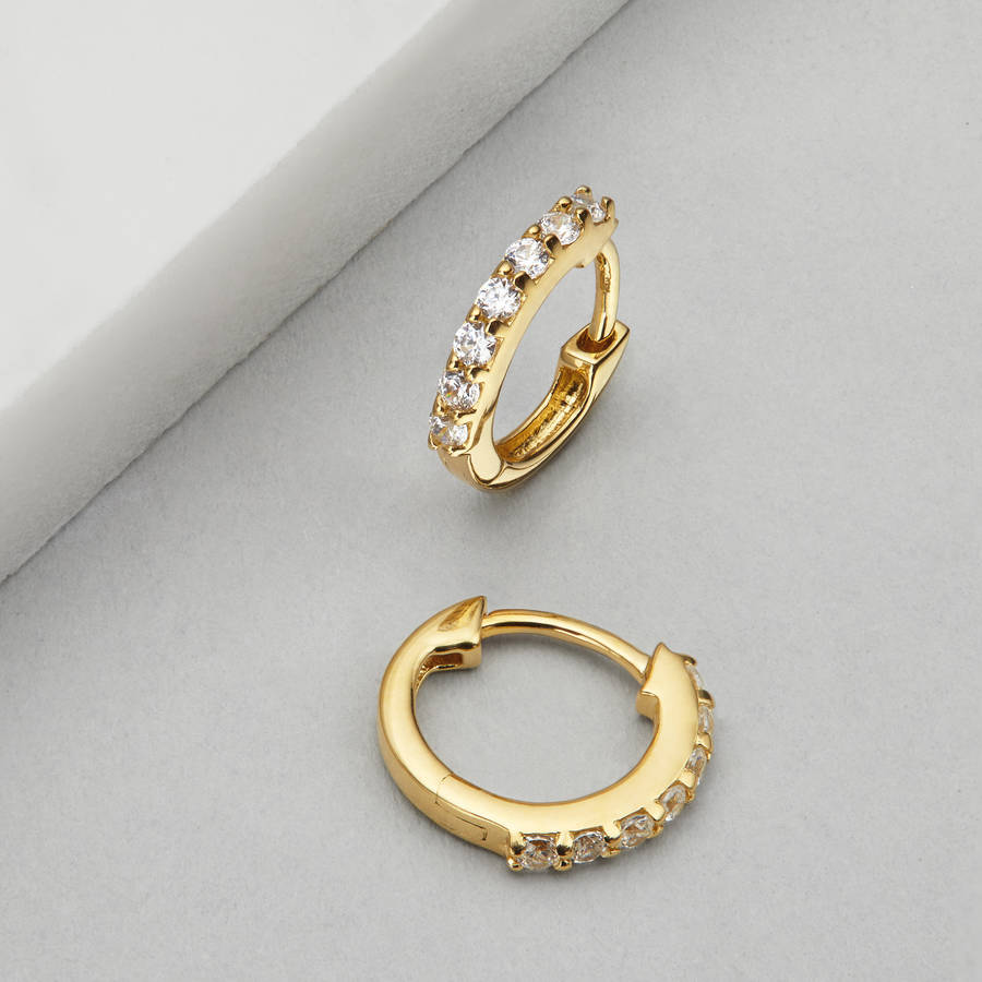 gold or silver small diamond style huggie hoop earrings by
