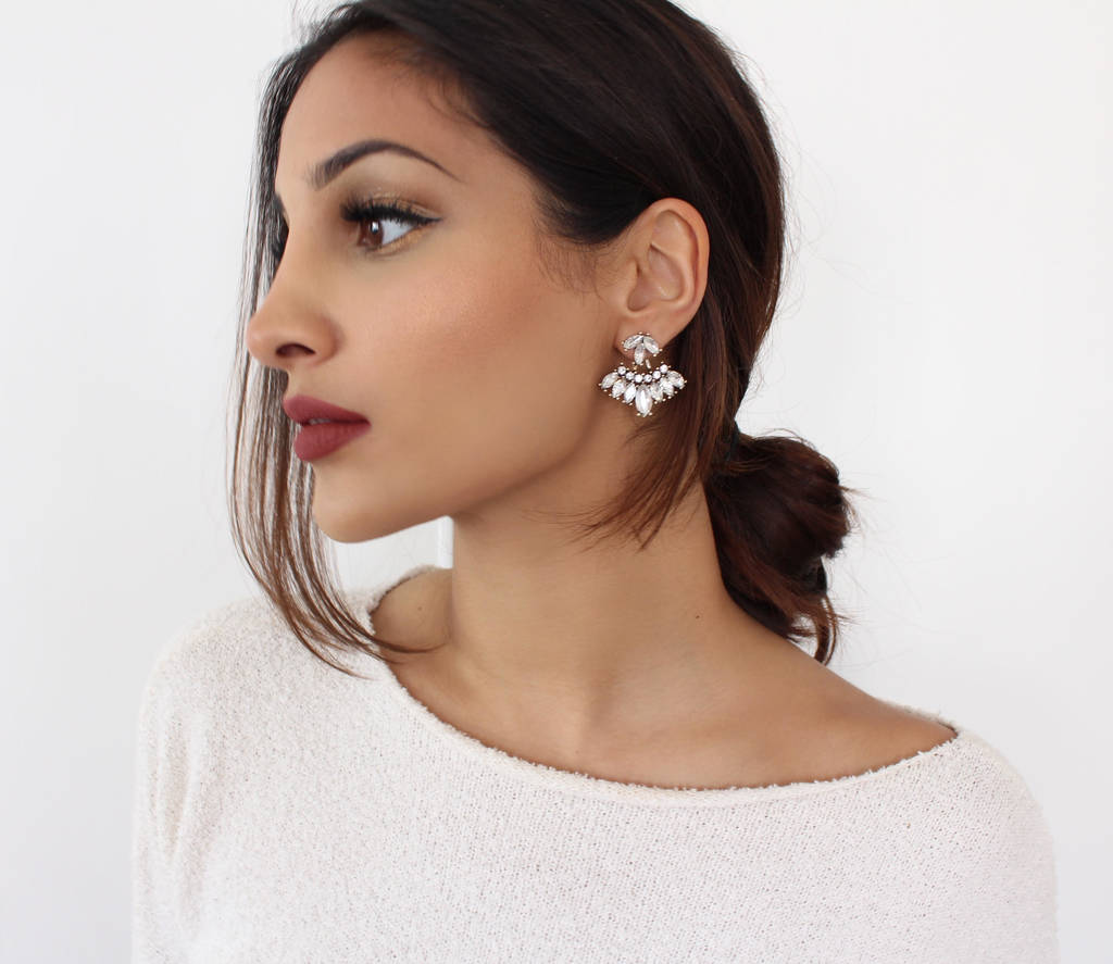 front and back rhinestone statement earrings by nikita by