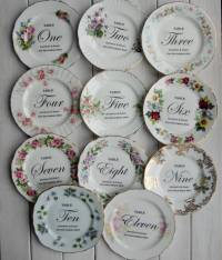 personalised floral vintage china plate table number by
