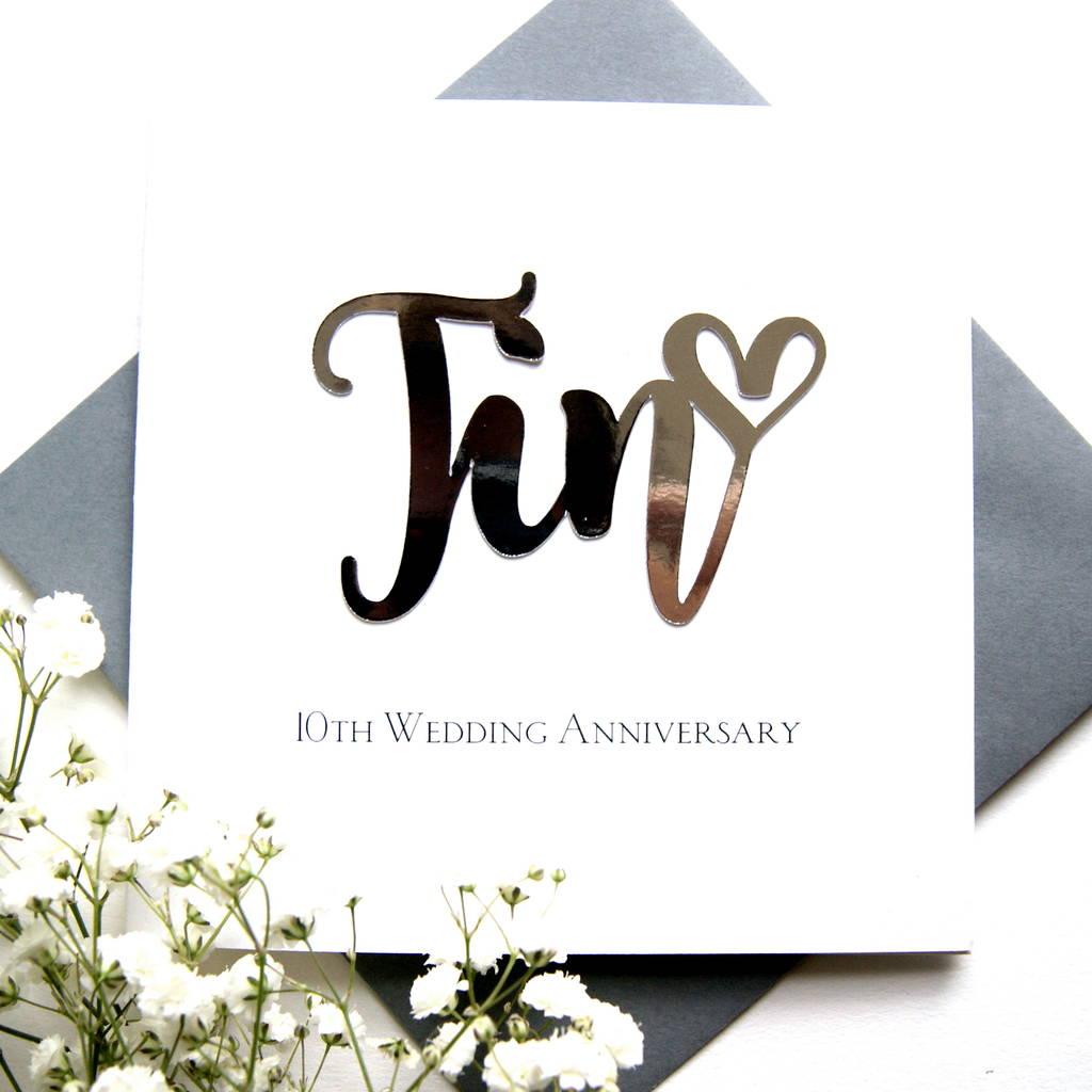 10th tin wedding anniversary card by the hummingbird card company  notonthehighstreetcom