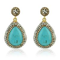 turquoise gold earrings by divine elements jewellery ...