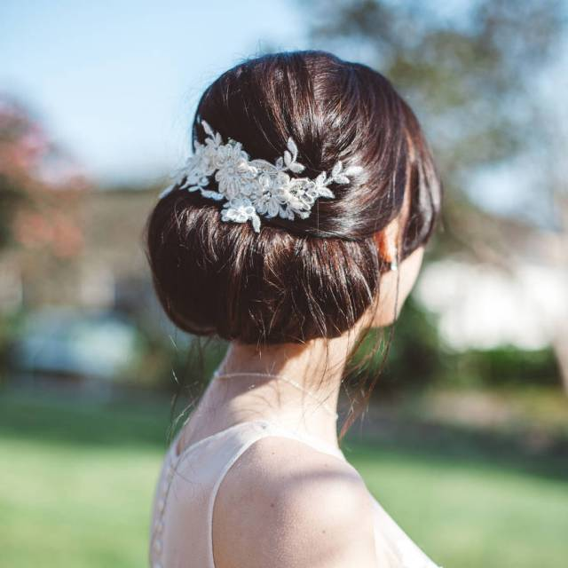 champagne lace vine bridal hair comb 'lerryn'