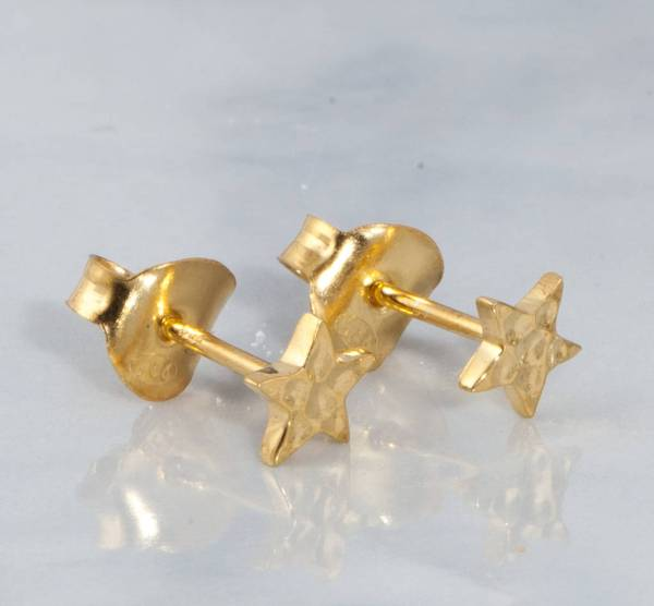 Silver 18ct Gold Star Stud Earrings Holly Blake