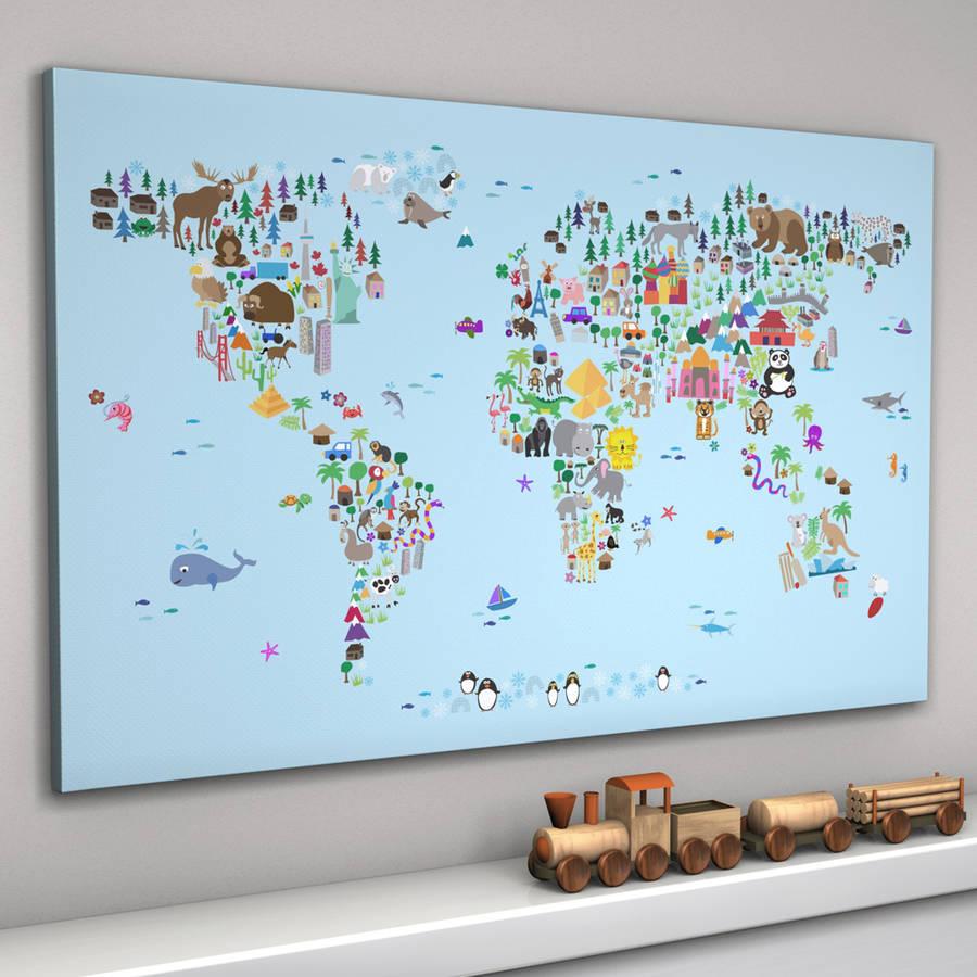 animal world map print by artpause  notonthehighstreetcom