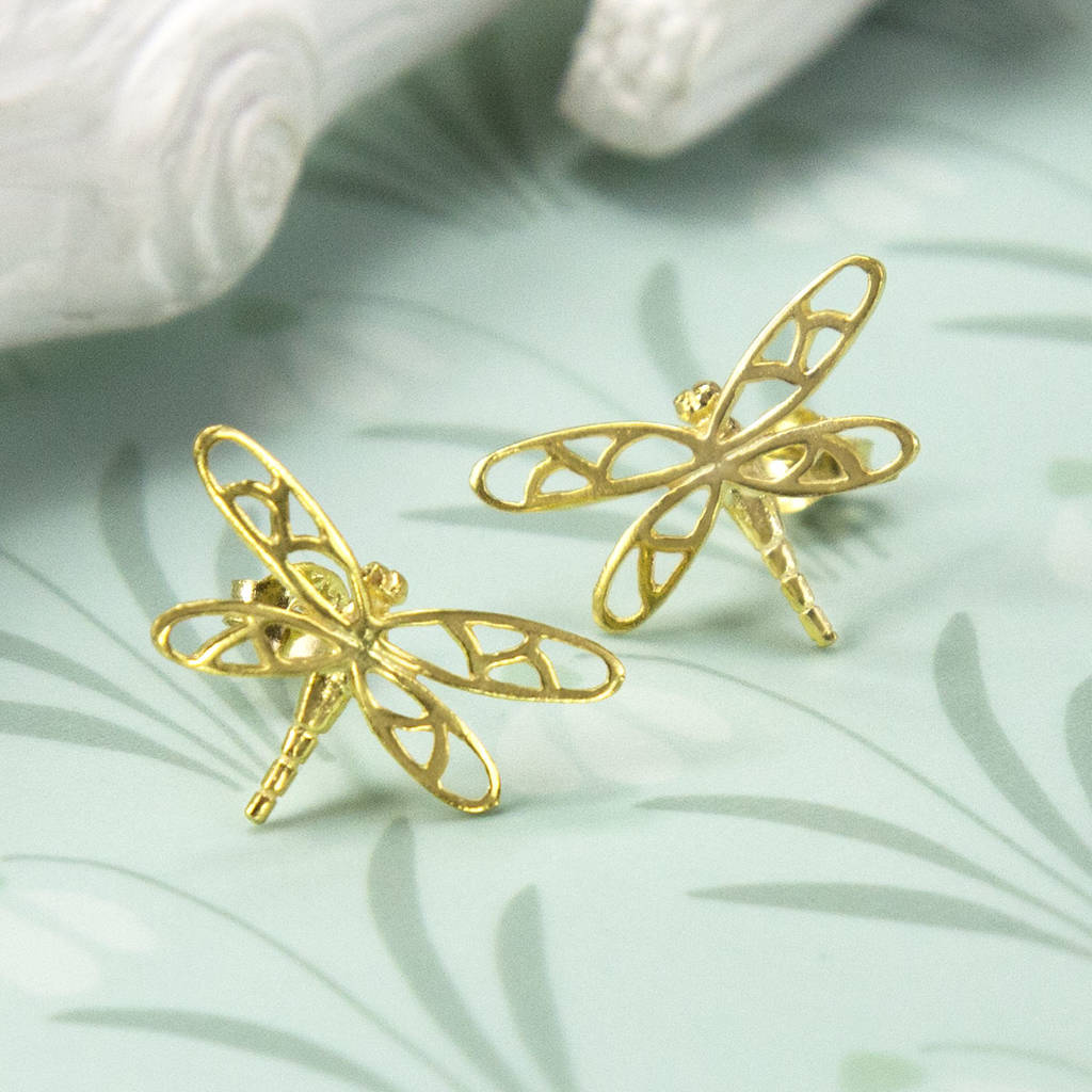 gold plated sterling silver dragonfly stud earrings by