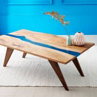 river resin elm coffee table on walnut base by frances ...