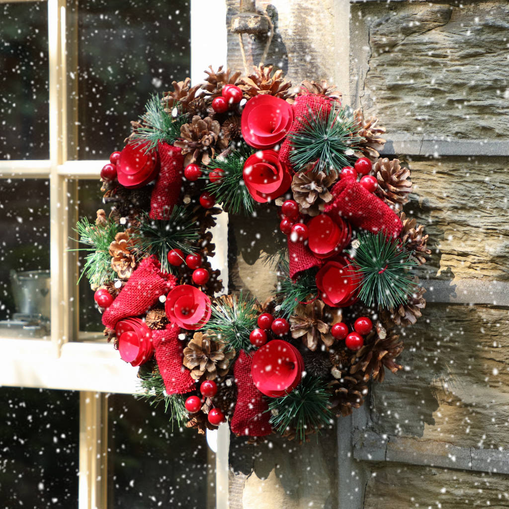 Rose Red Traditional Christmas Wreath By Dibor