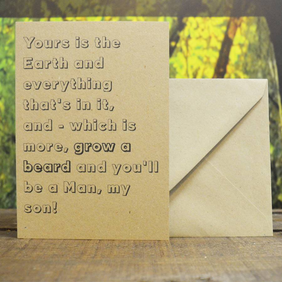'you'll Be A Man' For My Son Handmade Birthday Card By