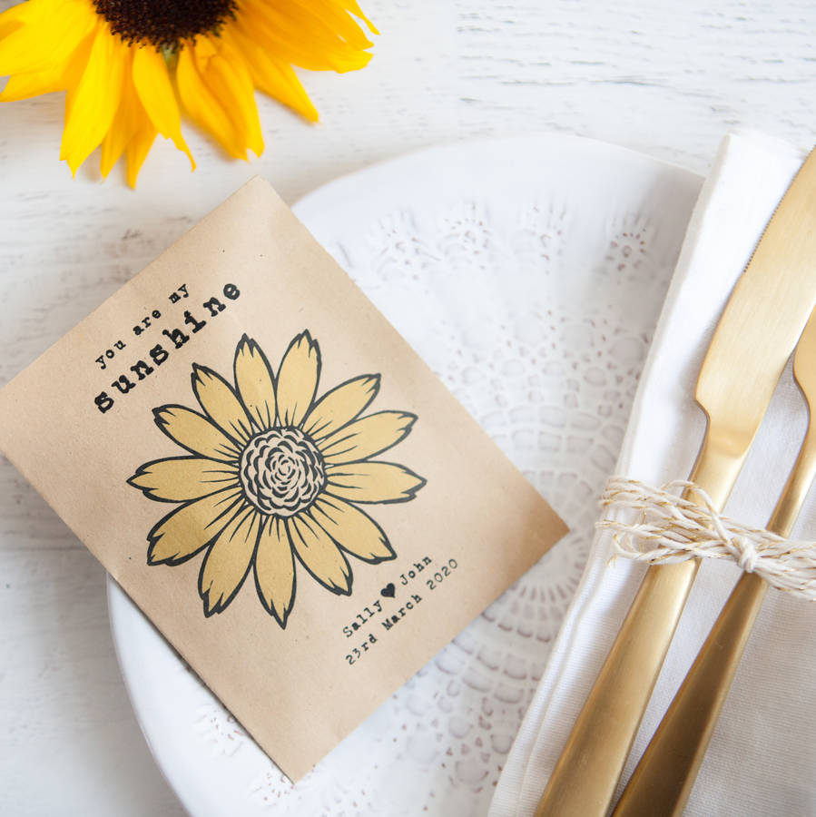 10 Personalised Sunflower Seed Packet Favours By Wedding