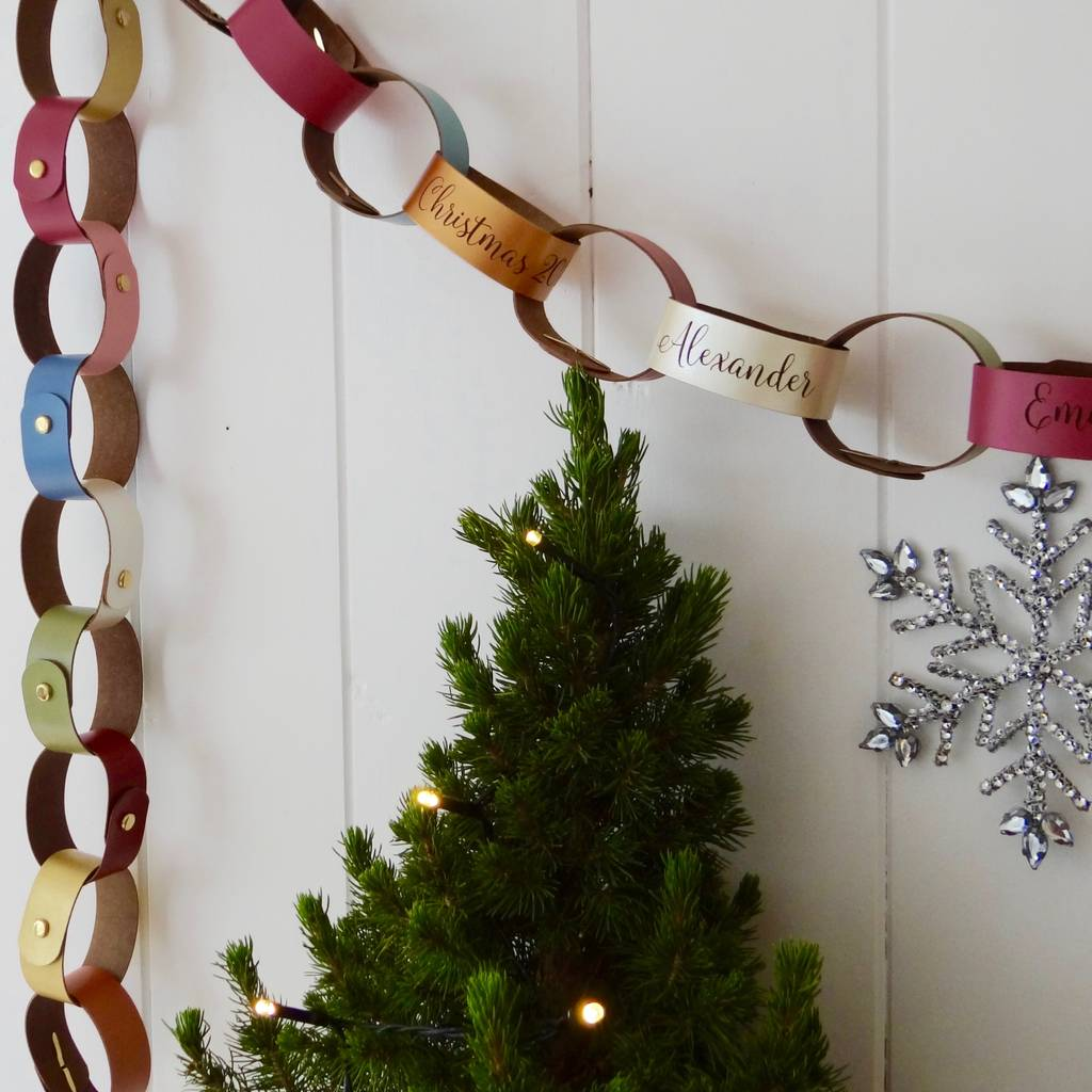 personalised leather paperchain christmas