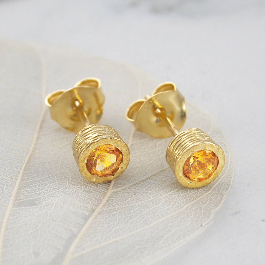 november round citrine birthstone gold stud earrings by