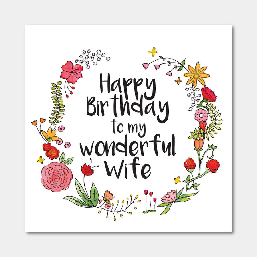 Floral 'happy Birthday To My Wonderful Wife' Card By