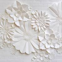 handmade paper flower wall installation by may contain ...