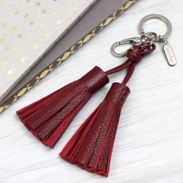 Personalised Luxury Nappa Leather Tassel Bag Charm