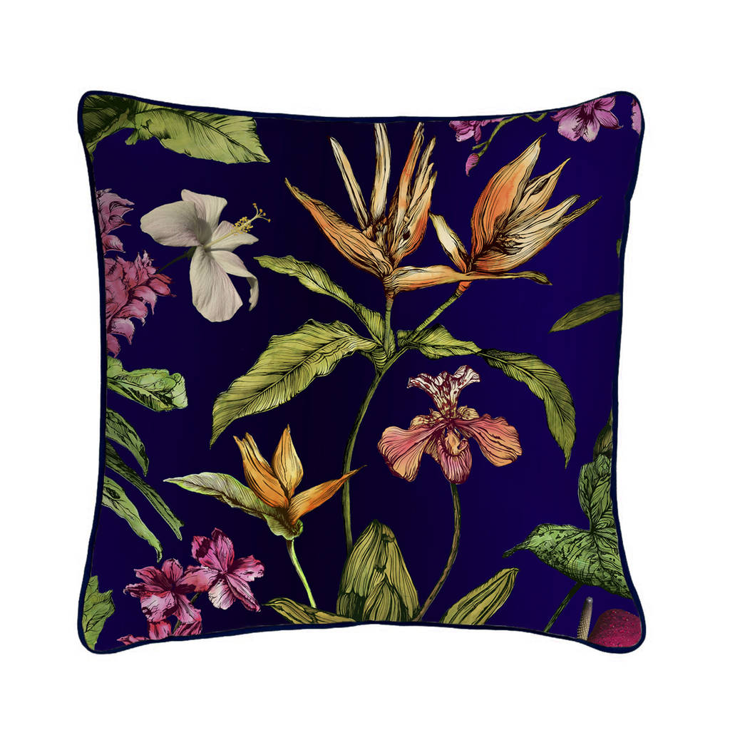 printed fabric sofa designs how to wash dfs cushions tropical hothouse silk botanical luxury cushion by ...