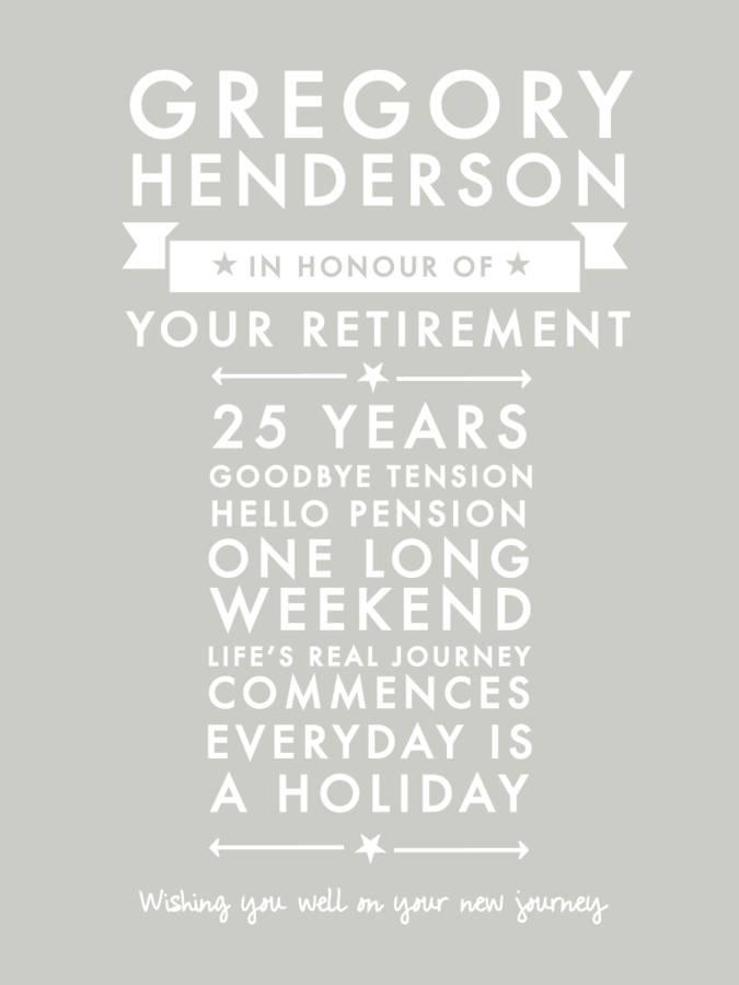 personalised retirement leaving print by jodie gaul