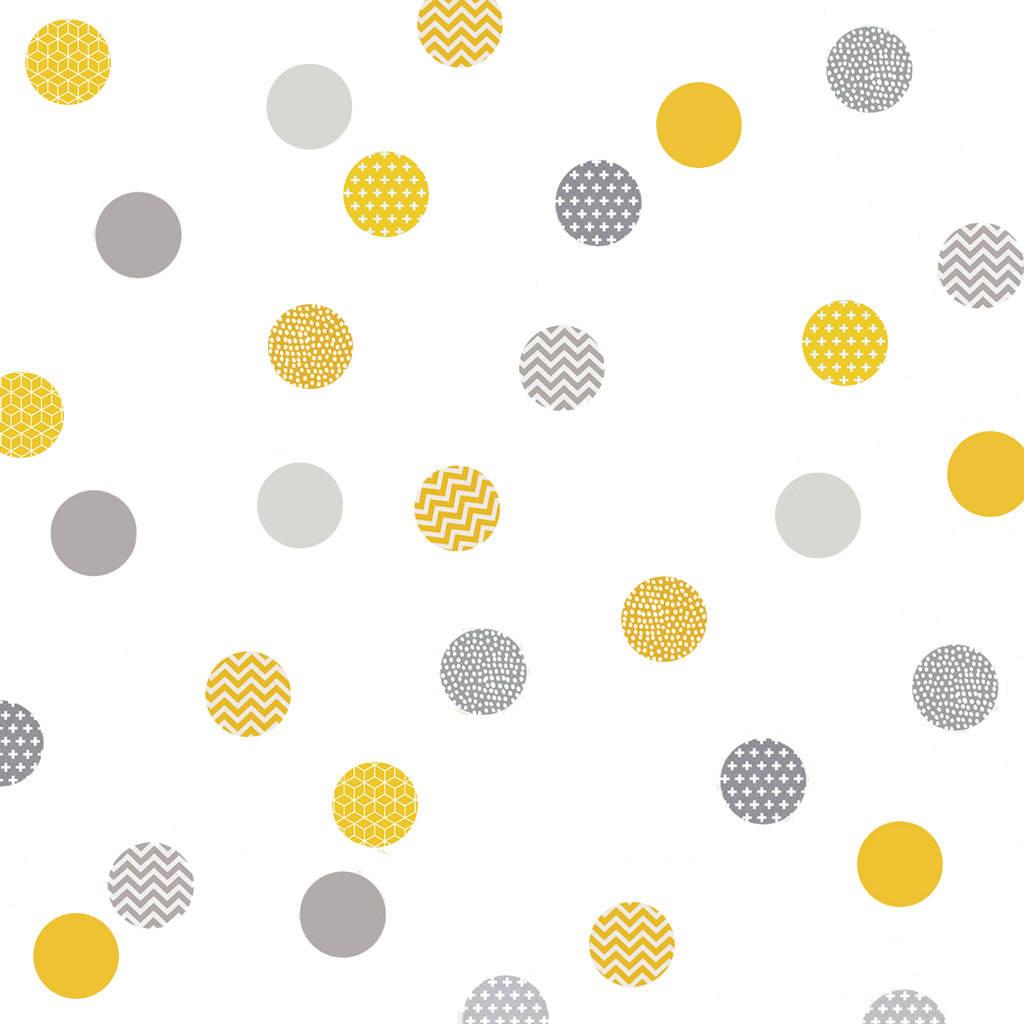 yellow and grey polka dot wall stickers by koko kids