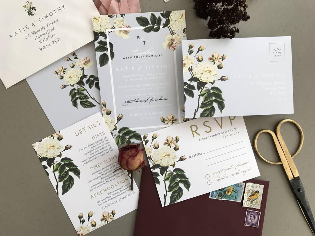 french grey botanical wedding invitation set by sweet pea sunday  notonthehighstreetcom