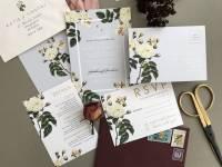 french grey botanical wedding invitation set by sweet pea ...