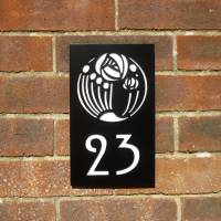 black mackintosh rose house number plaque by housebling ...