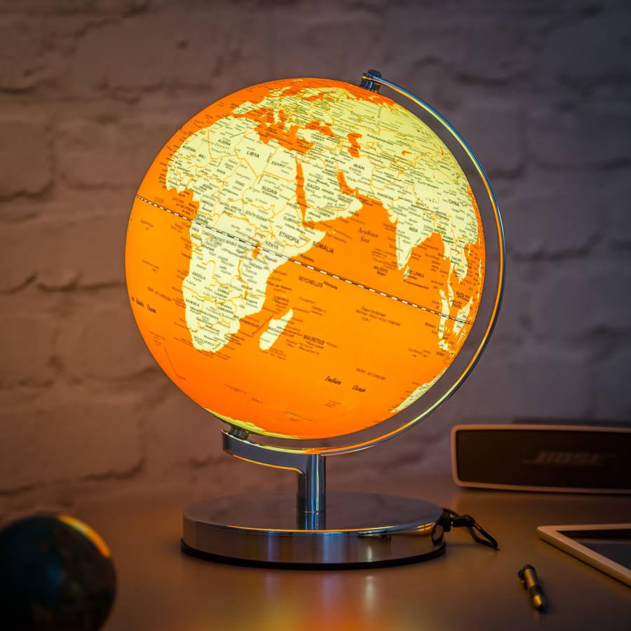 illuminated led globe light in goldfish orange by