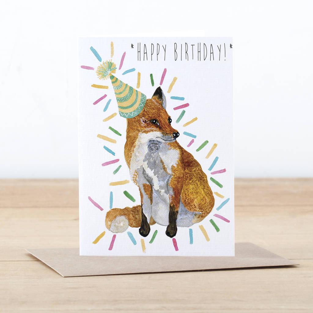 Fox Happy Birthday Card By Little Paisley Designs