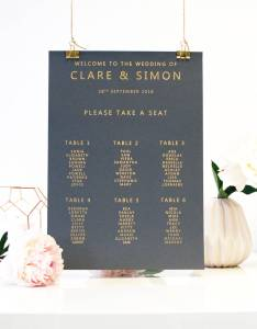 Gold and grey metallic foil table plan also wedding seating by made with rh notonthehighstreet