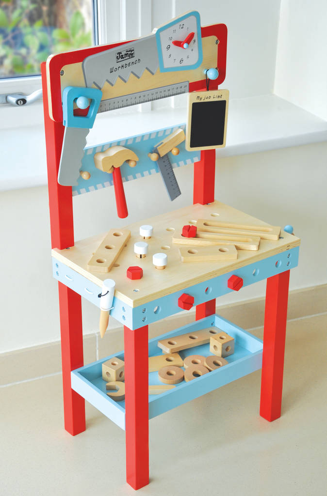 Pretend Play Workbench With Tools And 25 Accessories By