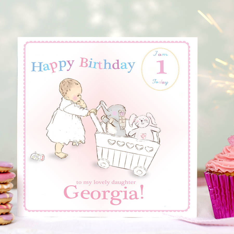 Personalised First Birthday Card 'pink' By August & Grace