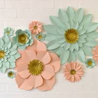 handmade glitter centre paper flower wall display by may