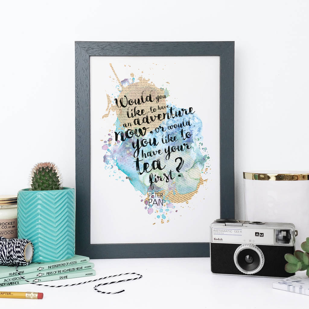 Peter Pan Adventure Watercolour Quote Print By Bookishly
