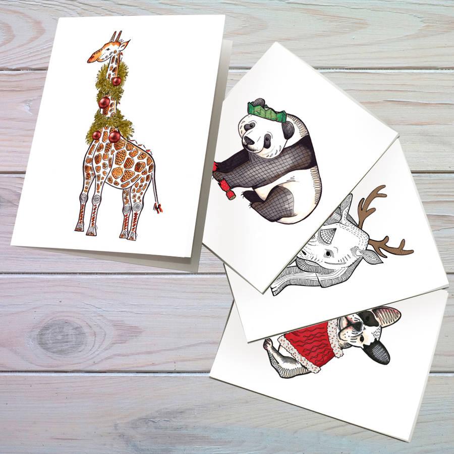 Set Of Animal Christmas Cards By Bexiekimdesign