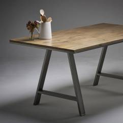 Maple Kitchen Table Black Trash Can Solid Dining Choice Of Steel Leg Designs By Wicked On A Design Legs