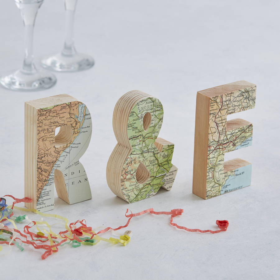 Map Location Set Of Letters Wedding Anniversary Gift Small