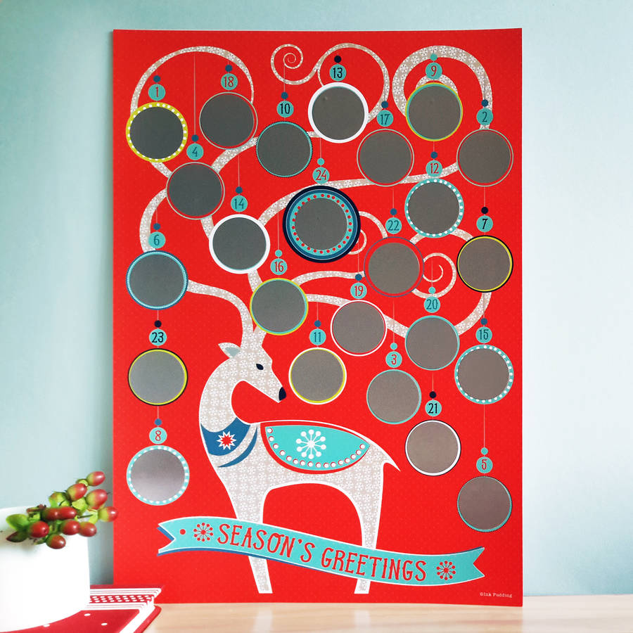 Scratch And Reveal Advent Calendar By Ink Pudding