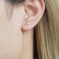 Sterling Silver Threader Earrings 925 Silver Modern Spike ...