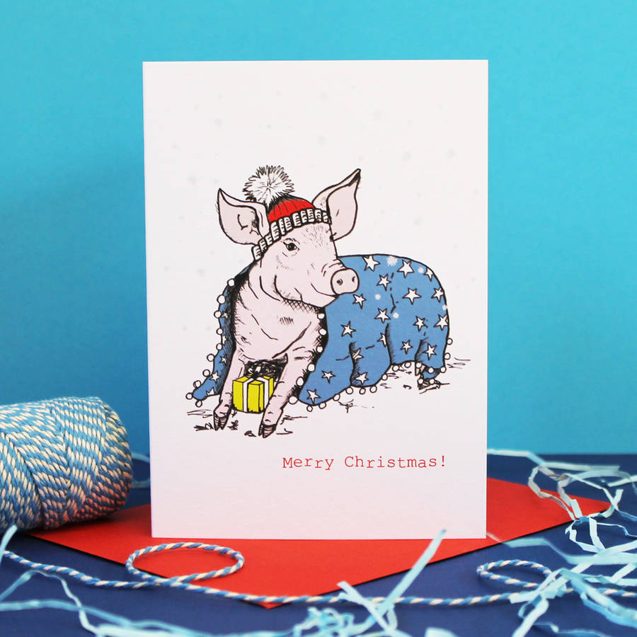 Pig In Blanket Cute Christmas Card By Martha And Hepsie