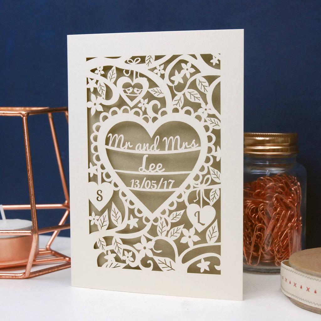 Personalised Papercut Wedding Card