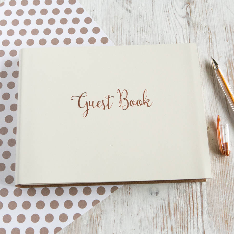 personalised rose gold wedding guest book by begolden